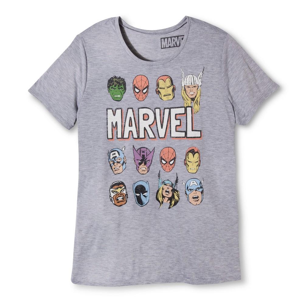Women's Plus Size Marvel Heads T-Shirt Heather Gray 1X, Variation Parent Gray
