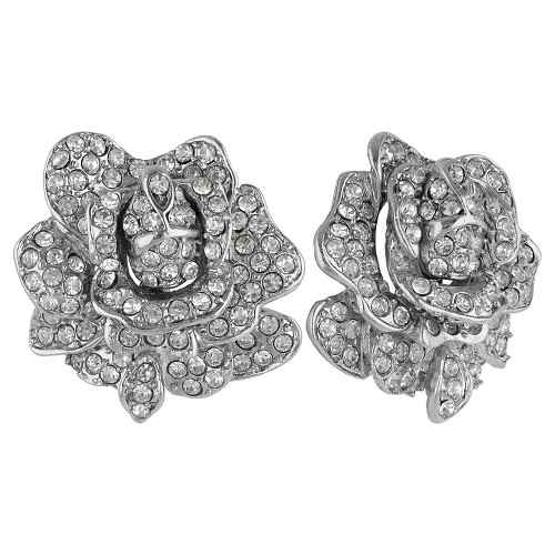 Women's Kenneth Jay Lane Rose Motif Button Post Earrings with Crystal - Silver, Silver/Clear