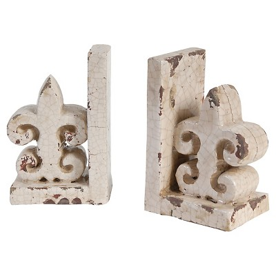 Set of 2 Crackle Finish Ceramic Fleur de lis Bookends