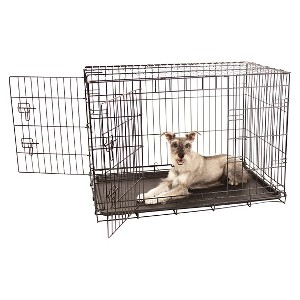 Carlson Compact and Secure Double Metal Door Pet Cage - Black - Medium