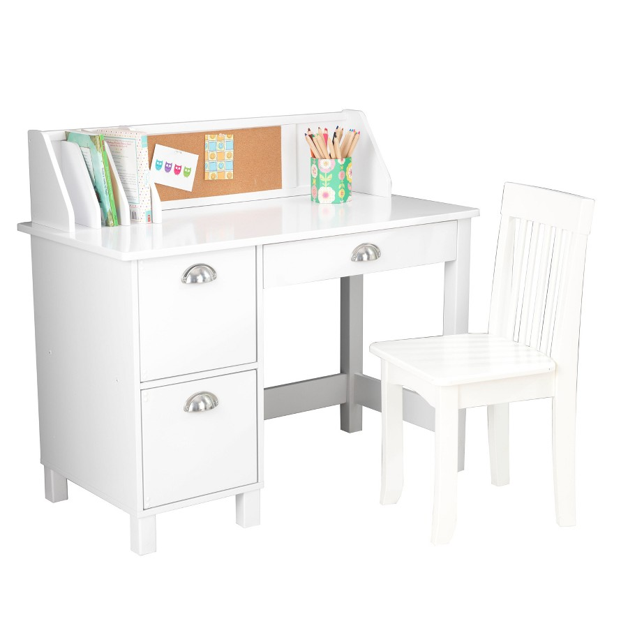 Kids Study Desk Table Chair School Drawers White Storage Furniture Kidkraft New