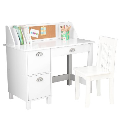 Study Desk With Drawers White   KidKraft