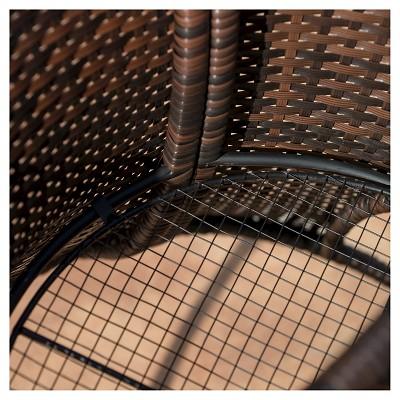 Rodolfo Round Wicker Patio Storage Table   Brown   Christopher Knight Home