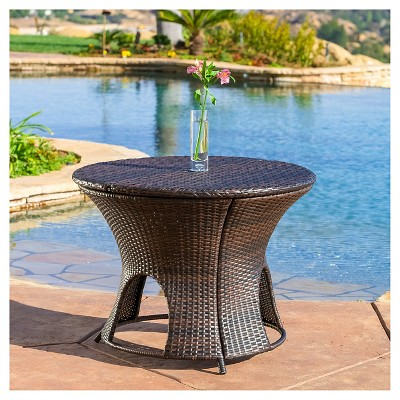 Rodolfo Round Wicker Patio Storage Table   Brown   Christopher Knight Home