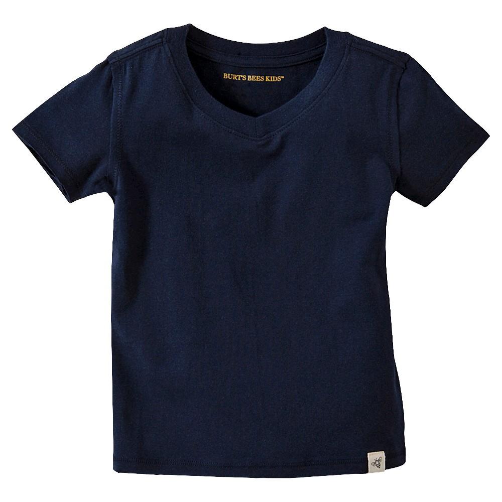 Burts Bees Baby Infant Boy Solid Short Sleeve Reverse Seam V-Neck T-Shirt - Midnight (Black) 6-9 M