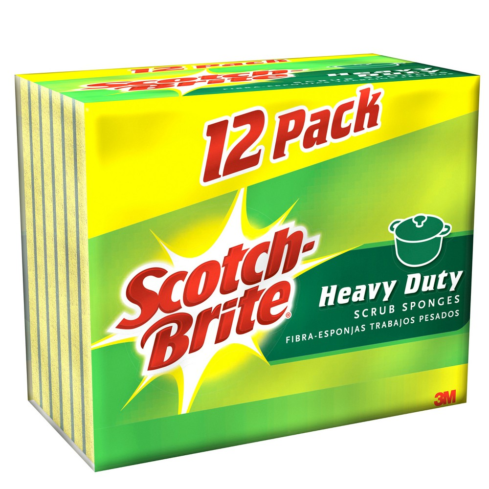 Scotch-Brite Heavy Duty Scrub SpongeYellow/Green12-Pack, Green