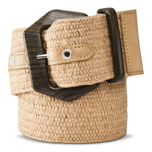 Women's Woven Belt with Wooden Buckle - Natural - image 1 of 2