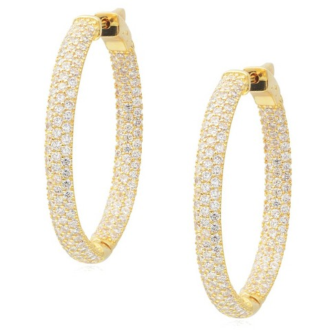 1 3/4 CT. T.W. Journee Collection Round Cut CZ Pave Set Hoop Earrings in Brass - Gold - image 1 of 3