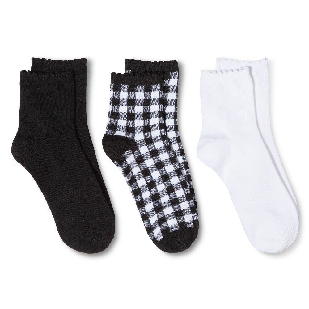 Women's Legale Ankle Socks 3-Pack - Black/White One Size