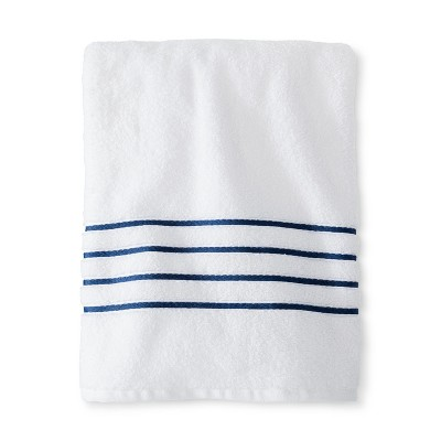 Bath Sheet White and Kettle Blue Stripe - Fieldcrest™