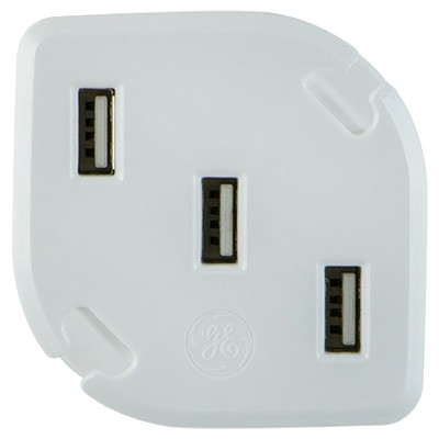 GE 3 Port USB Charger (3.4A) With Folding Prongs U0026 Cable Management   White