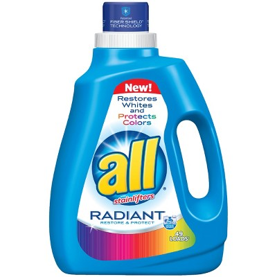 all Liquid Laundry Detergent, Radiant, Restores Whites & Protects Colors, 94.5 Fluid Ounces, 49 Loads
