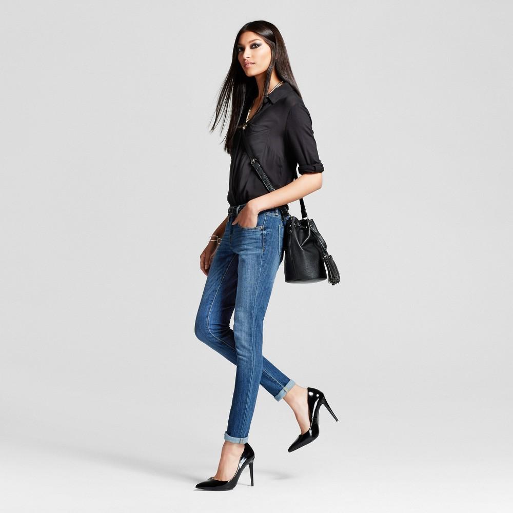 Women's Low Rise Skinny Medium Wash 0 Long – Mossimo, Medium Blue