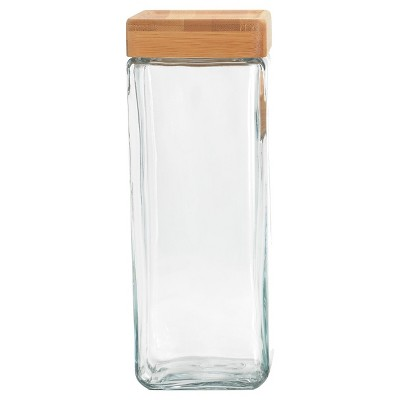 Anchor Square Glass Spaghetti Canister w/Bamboo Lid
