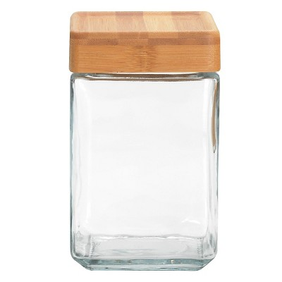 Anchor Square Glass Medium Canister w/Bamboo Lid