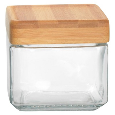 Anchor Square Glass Small Canister w/Bamboo lid