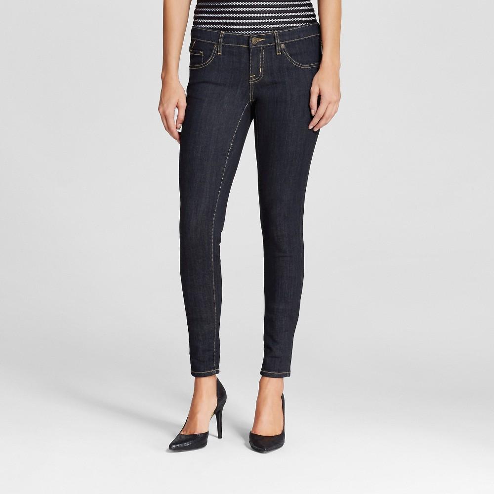 Womens Jeans Low Rise Skinny - Mossimo Dark Wash 2 Long, Dark Blue