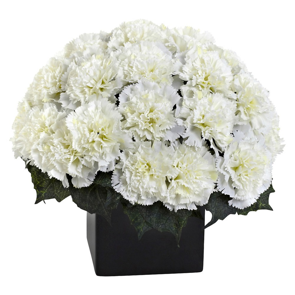Image of Nearly Natural Carnation Arrangement with Vase, Ivory