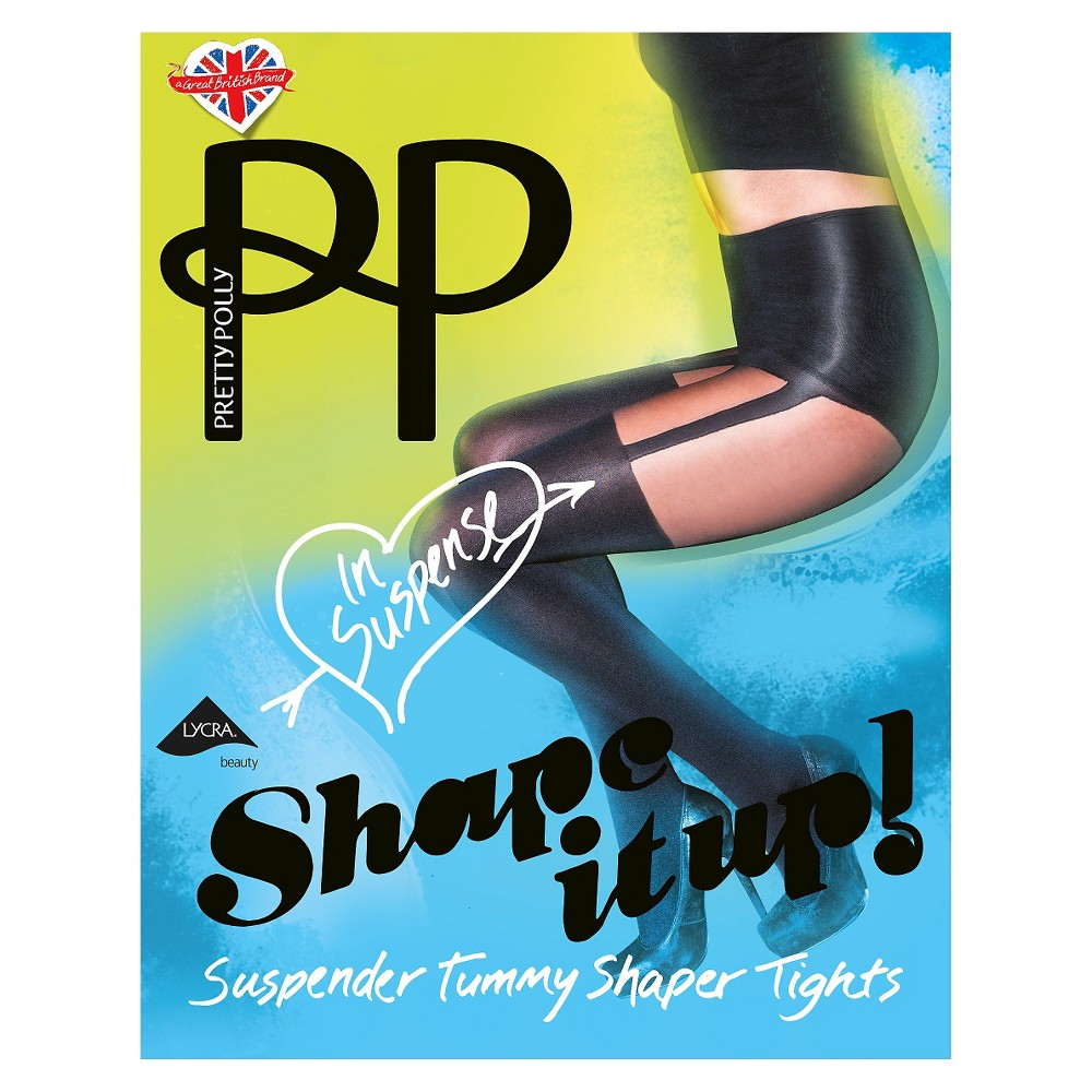 Pretty Polly Women's Shape It Up! Suspender Tummy Shaper Tights - Black M/L