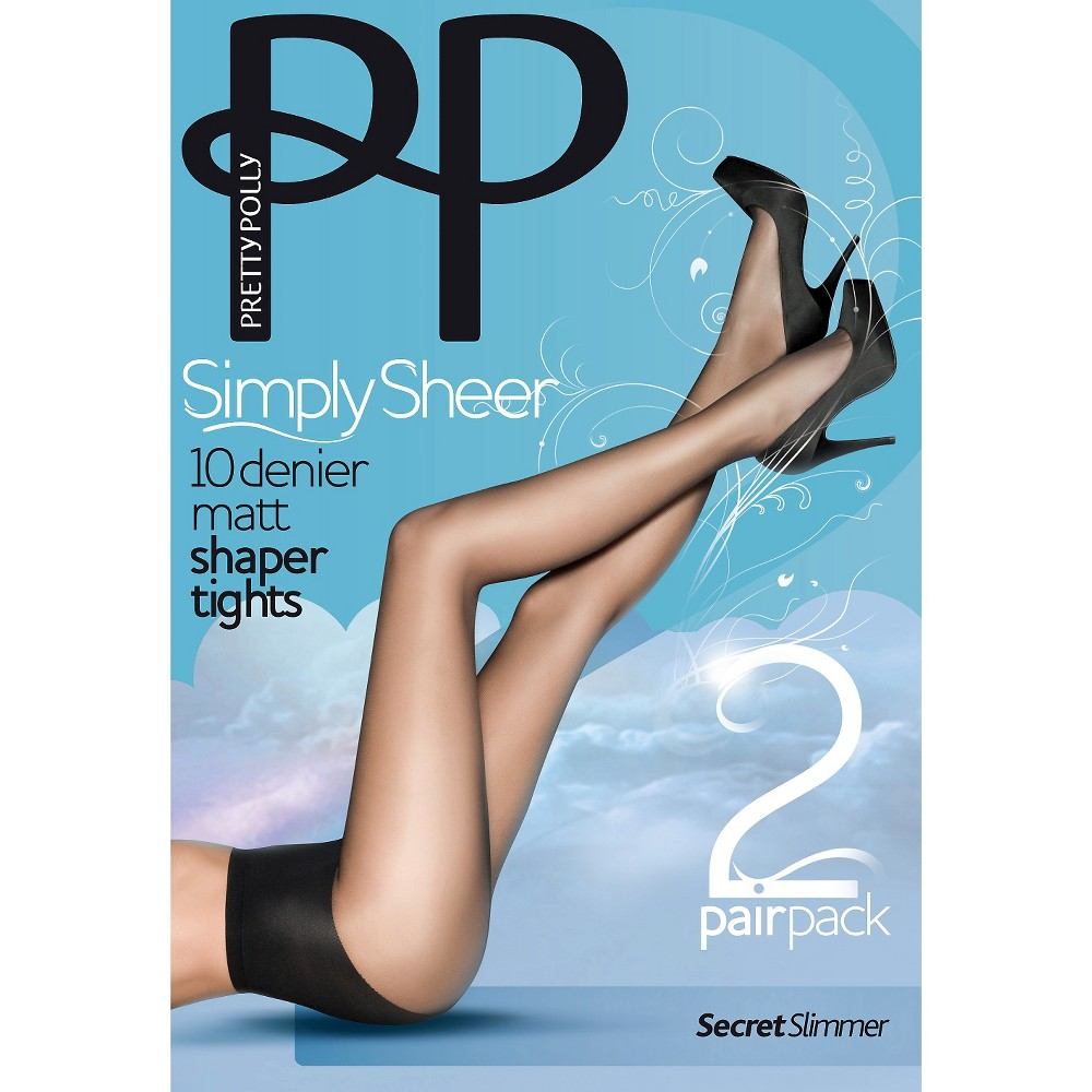 Pretty Polly Women's Simply Sheer 10 Denier Shaper Tights - Nude S/M, Sherry