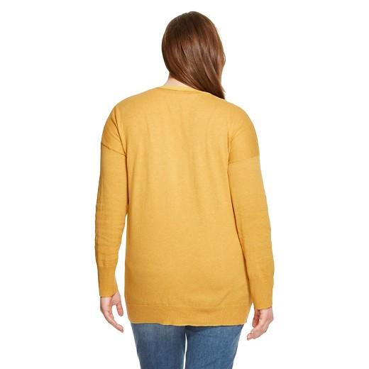 Women's Plus Size Boyfriend Cardigan Mineral Yellow 1X - Mossimo ...