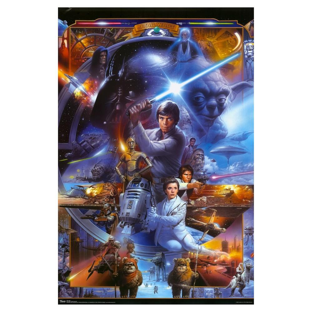 Art.com Star Wars Saga Collage Poster, Blue