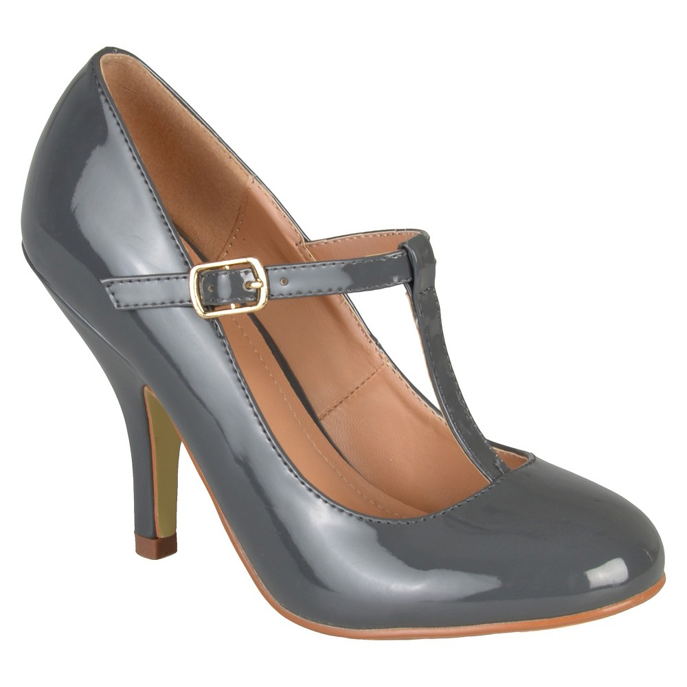 Womens Journee Collection Lessah T-Strap Pumps - Gray 7.5