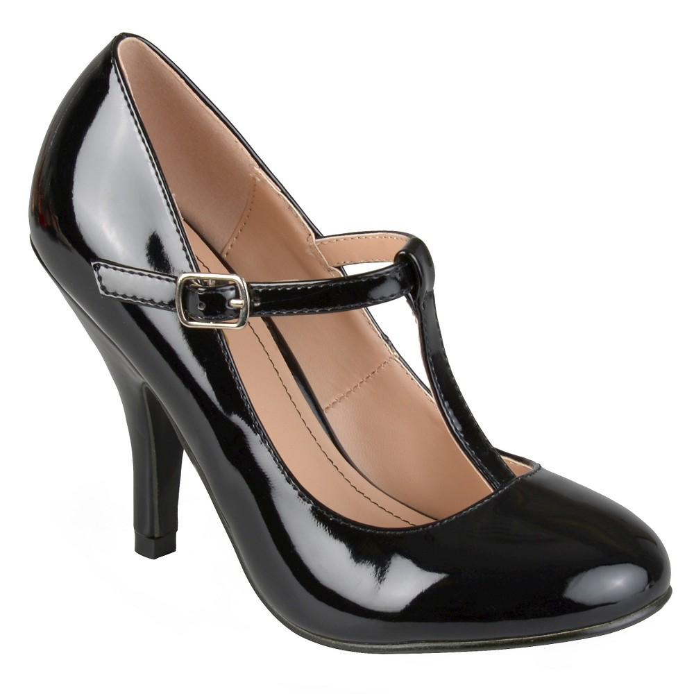 Women's Journee Collection Lessah T-Strap Pumps - Black 8.5