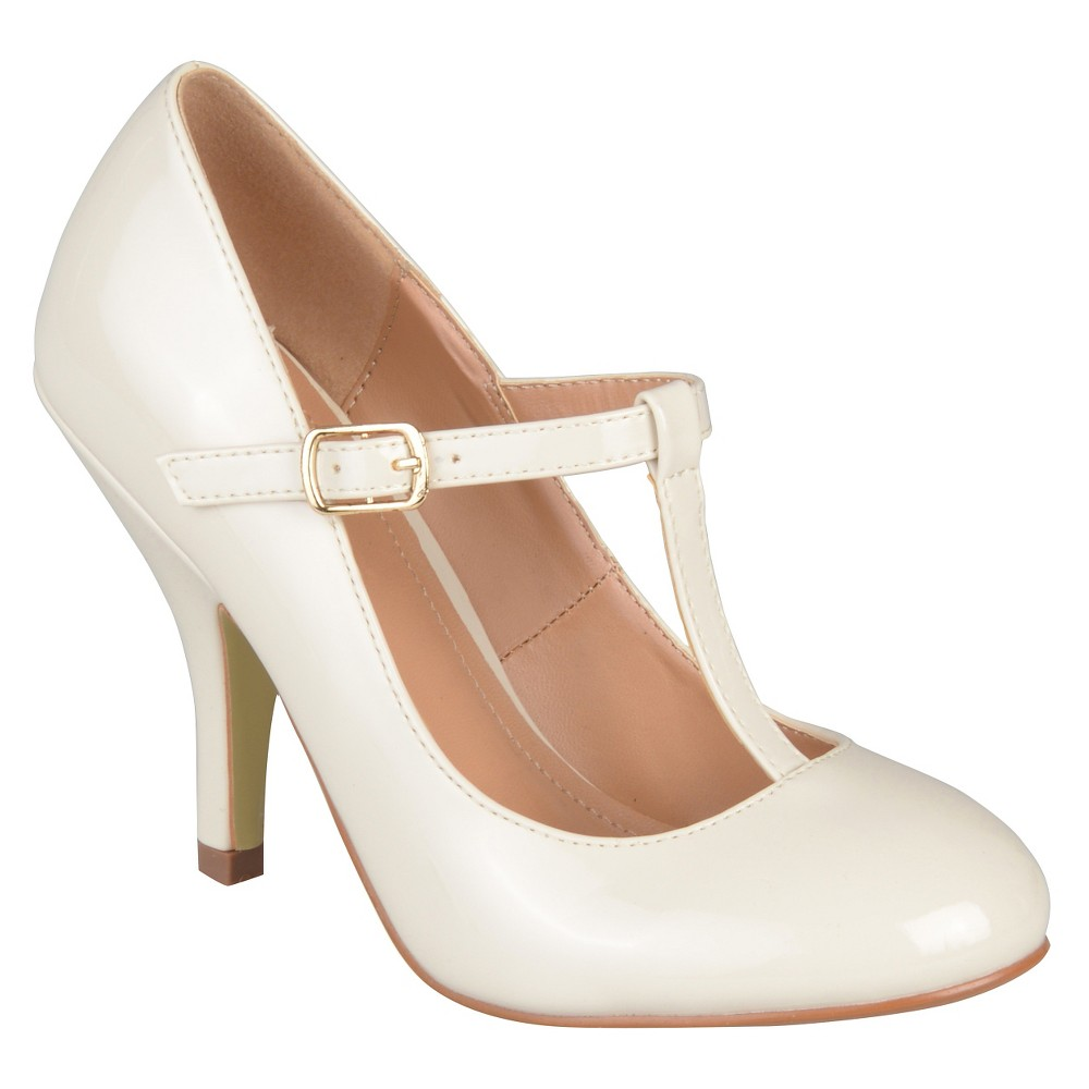 Womens Journee Collection Lessah T-Strap Pumps - Ivory 8.5