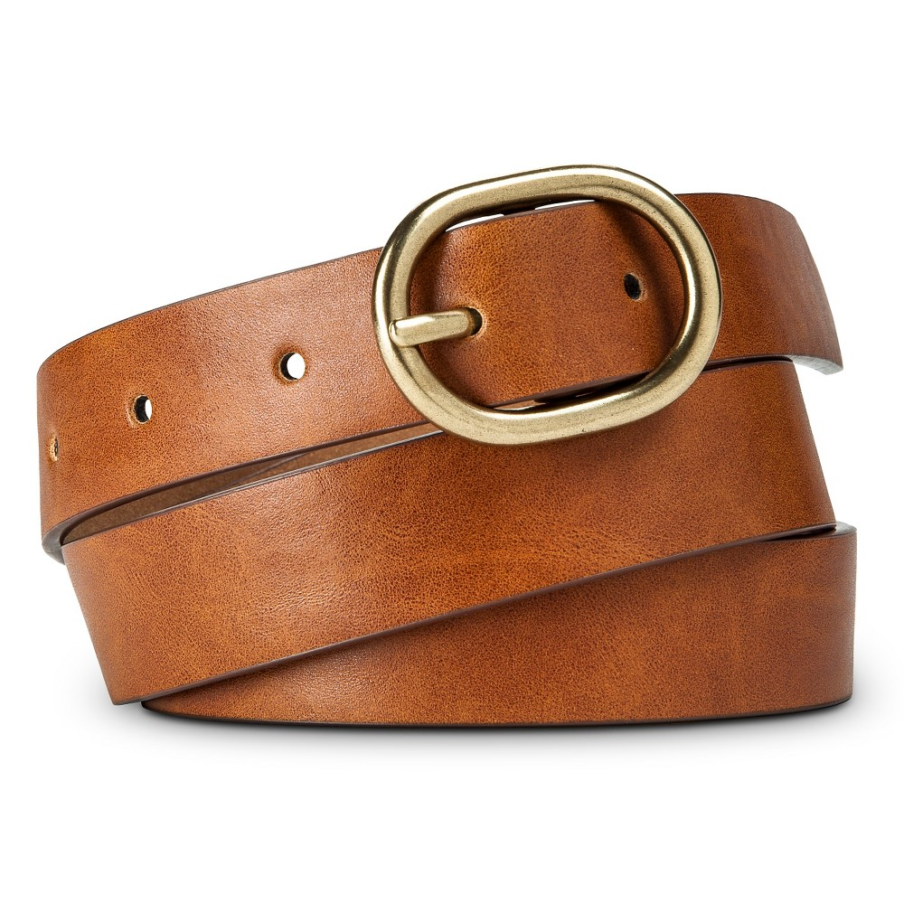 Womens Solid Belt with Gold Buckle Brown L - Merona