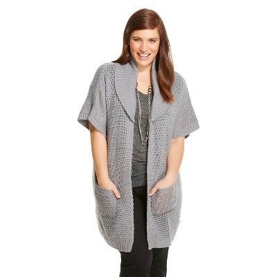 Women's Plus Size Open Knit Shawl Nimbus Cloud 2X/3X - Ava & Viv™