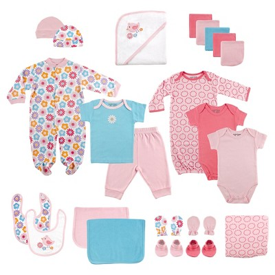 Luvable Friends Baby Girls' 24 Piece Deluxe Gift Set - Pink