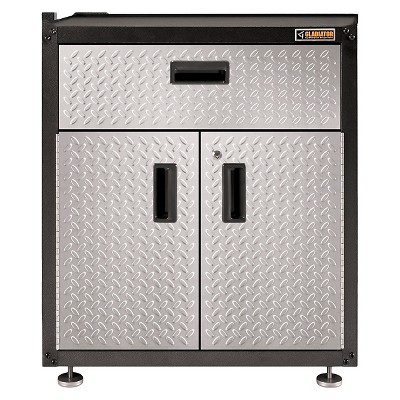 Gladiator Gearbox Base Cabinet Garage And Utility Storage   Hammered Metal  With Silver Tread Plate Doors