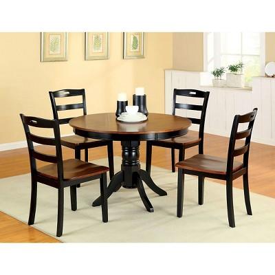 Sun U0026 Pine 5pcs Brighton Dining Table Set Wood/Galaxy Black/Burgundy Brown