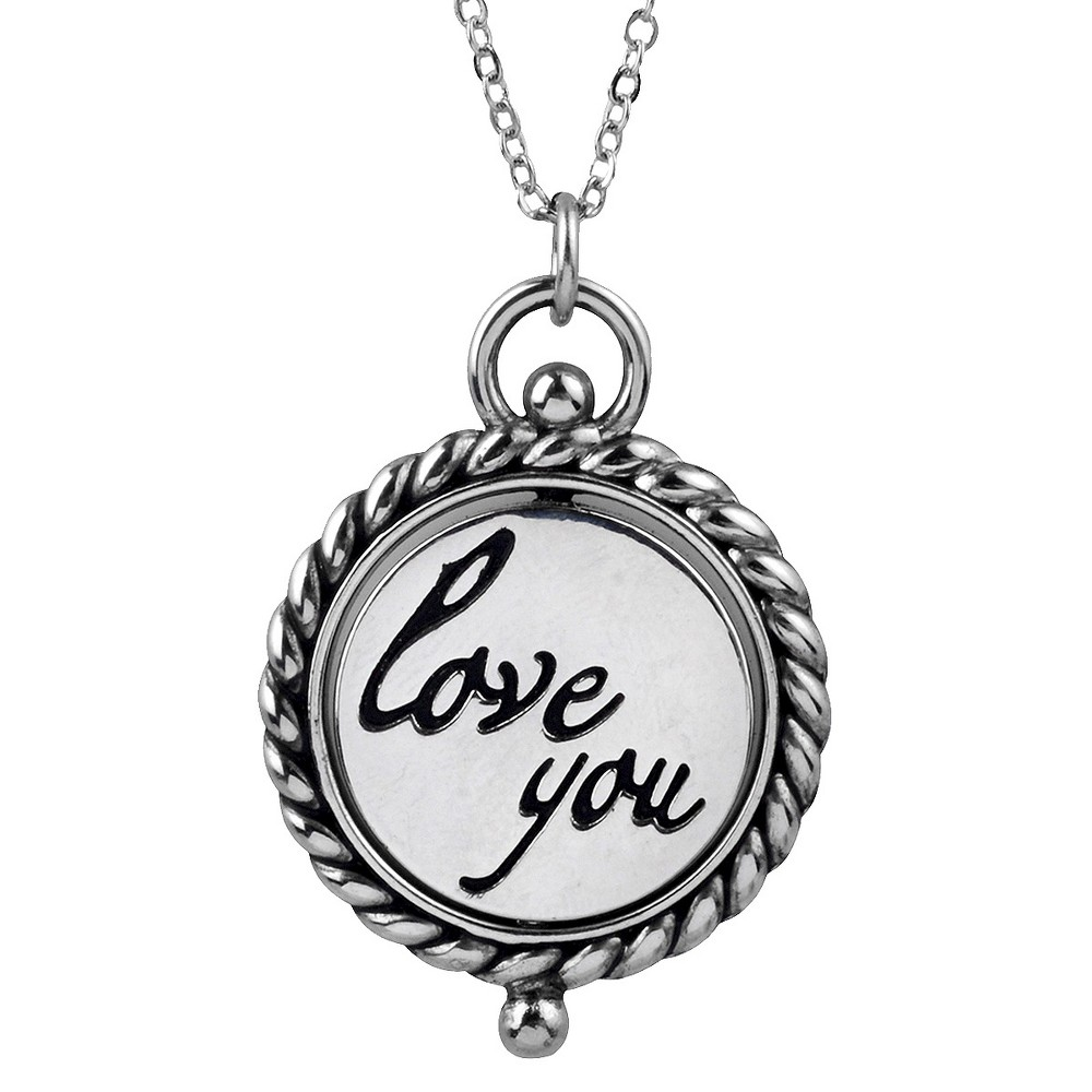 Womens Journee Collection Love You Emblem Necklace in Stainless Steel - Silver