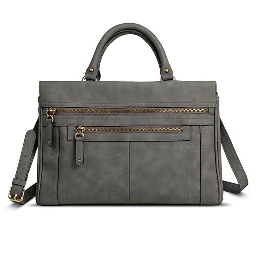 Women's Solid Satchel Faux Leather Handbag with Zipper Pockets ...