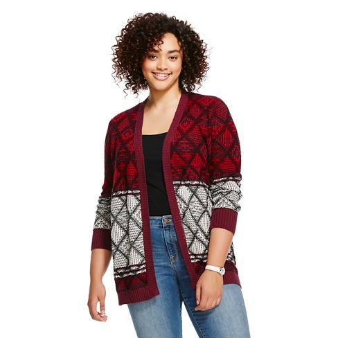 Women's Plus Size Cardigan with Pockets All Over Jacquard - Mossimo Supply Co.™ - image 1 of 2
