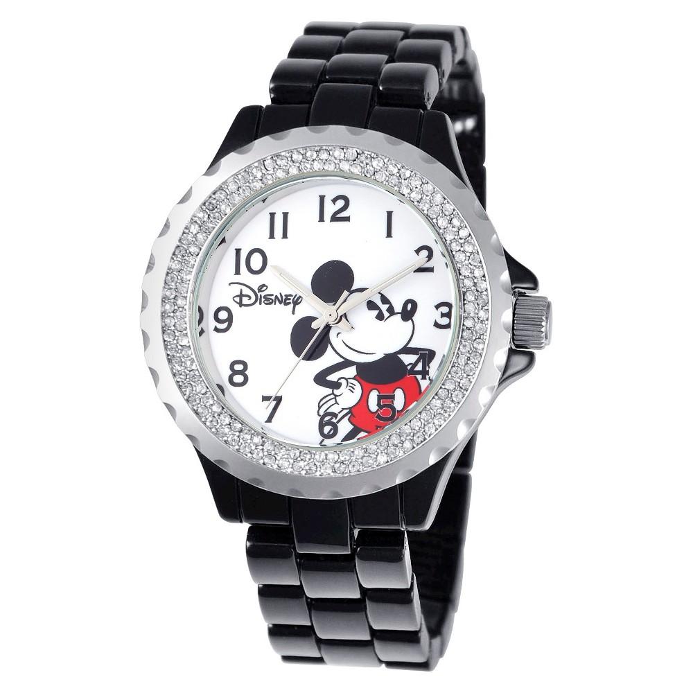 Womens Disney Mickey Mouse Enamel Sparkle Watch - Black