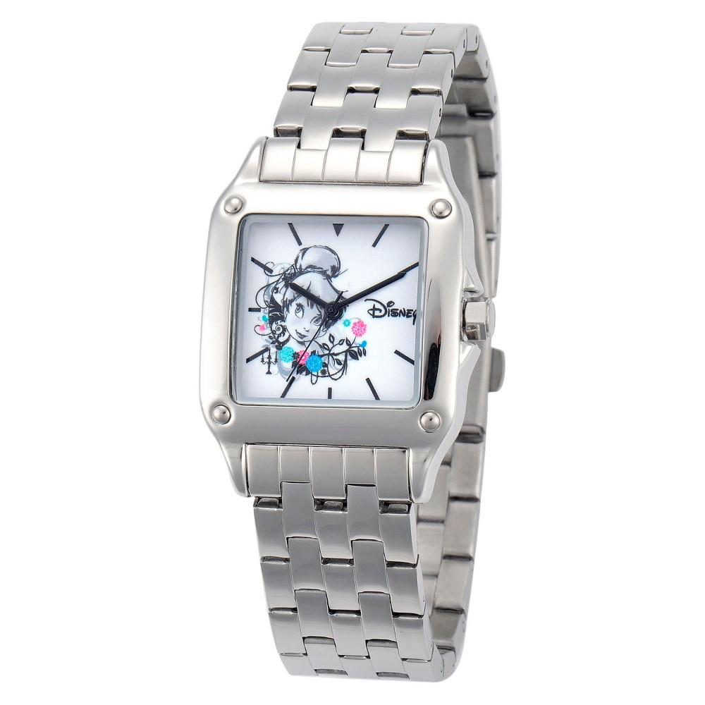 Womens Disney Tinker Bell Perfect Square Watch - Silver