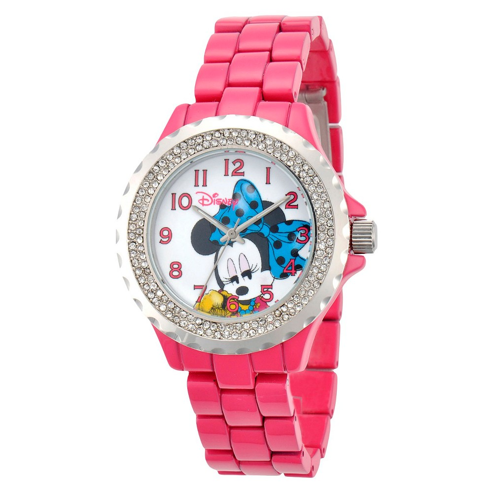 Women's Disney Minnie Mouse Enamel Sparkle Watch - Pink