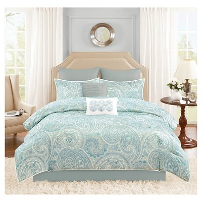 Kashmir 8 Piece Distressed Paisley Comforter Set - Turquoise (Queen)