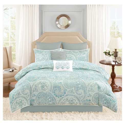sets sheets and pillowcase reversible grey set duvet quilt bed paisley complete bedding pieridae cover