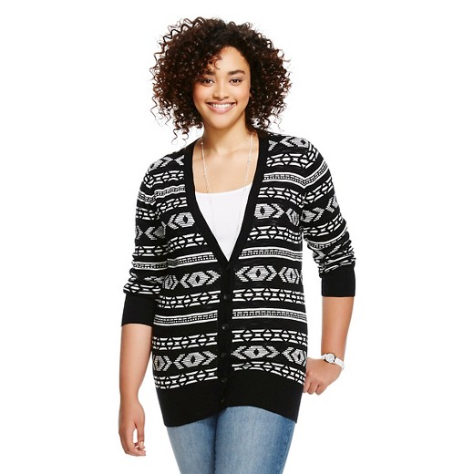 Women's Plus Size Cardigan Black Fair Isle - Mossimo Supply Co ...