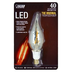 Feit 40-Watt Vintage Chandelier Candelabra Base LED Light Bulb - Soft White