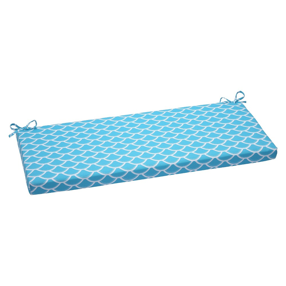 Pillow Perfect Sunny Outdoor Bench Cushion - Blue, Blue/Off White