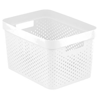 Resin Weave Rectangular Storage Bin - White - Room Essentials™