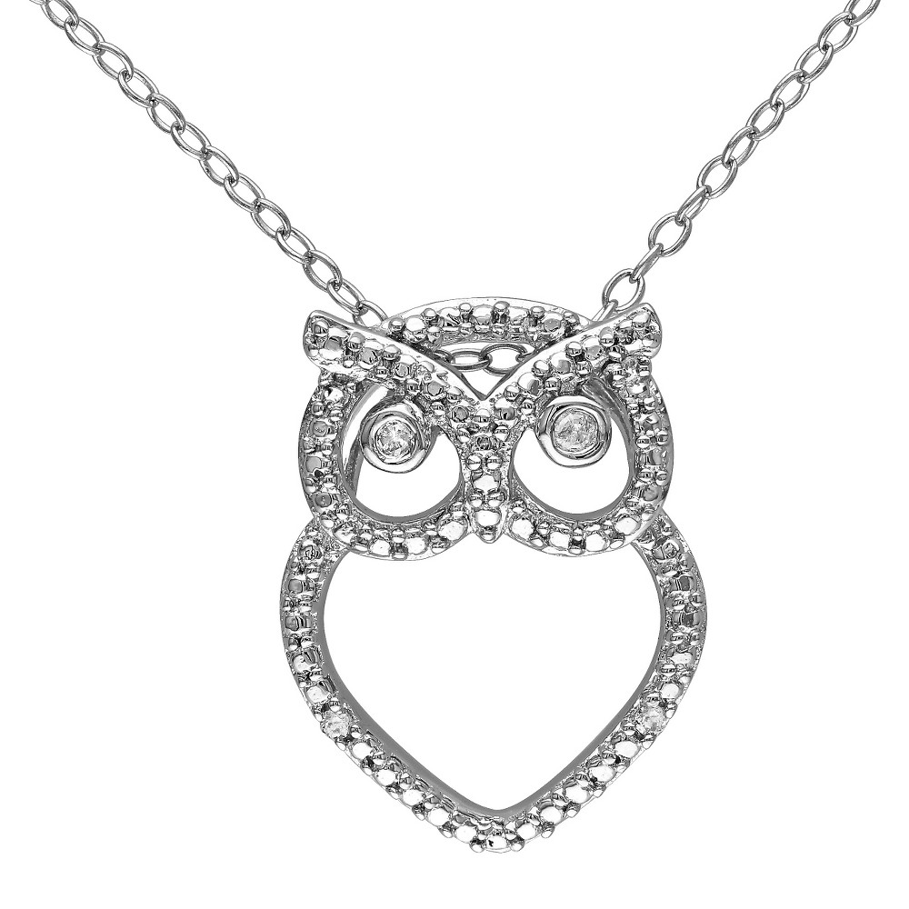 0.03 CT. T.W. Diamond Owl Pendant Necklace in Sterling Silver - I3 - White