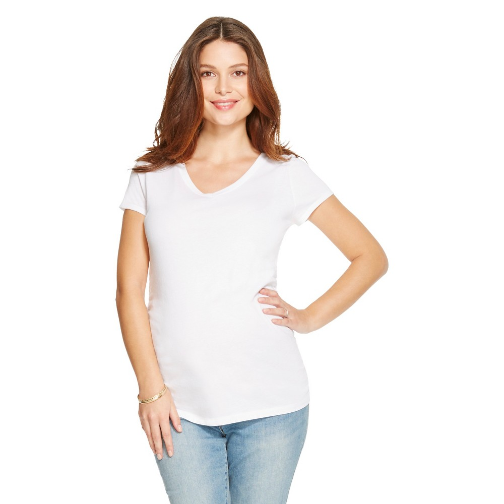 Maternity V-Neck Short Sleeve Tee - Winter White Xxl - Liz Lange for Target,  Infant Girl's plus size,  plus size fashion plus size appare