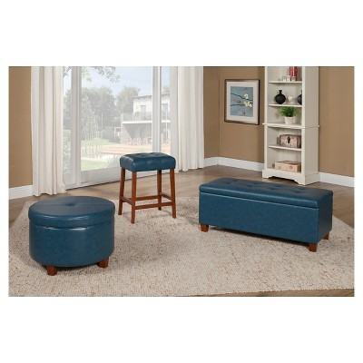 Homepop Large Faux Leather Storage Bench   HomePop