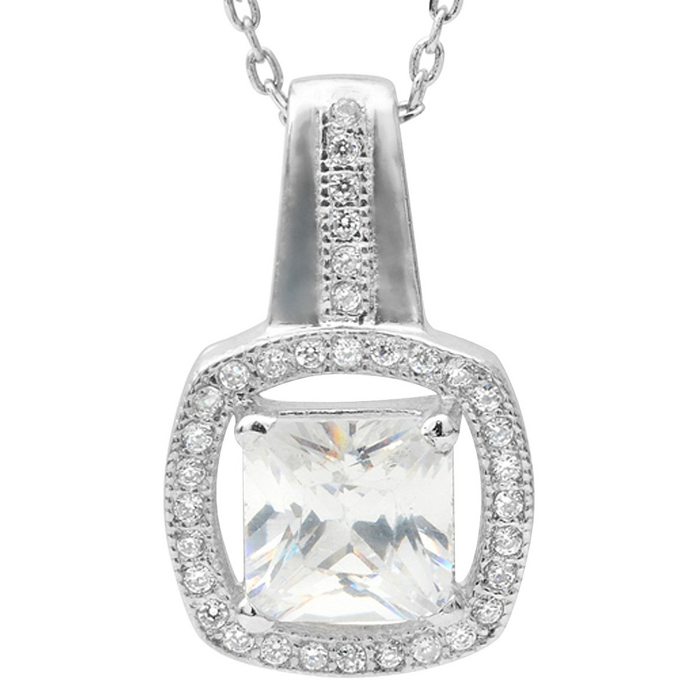 1 3/5 CT. T.W Square Cut Cubic Zirconia Basket Set Elegant Necklace in Brass - Silver, Womens